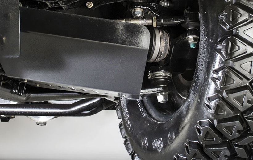 Image of the underside of the front wheel A-Arm on a utility vehicle.