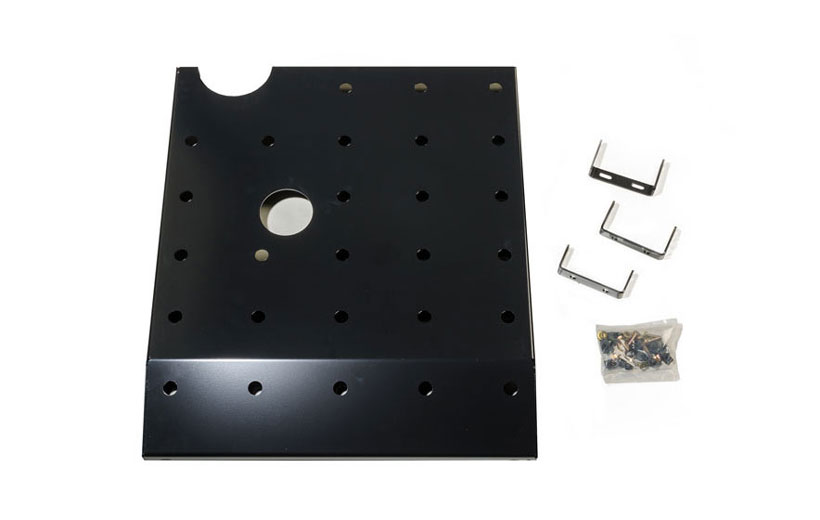 Image of the parts to a skid plate on a white background.