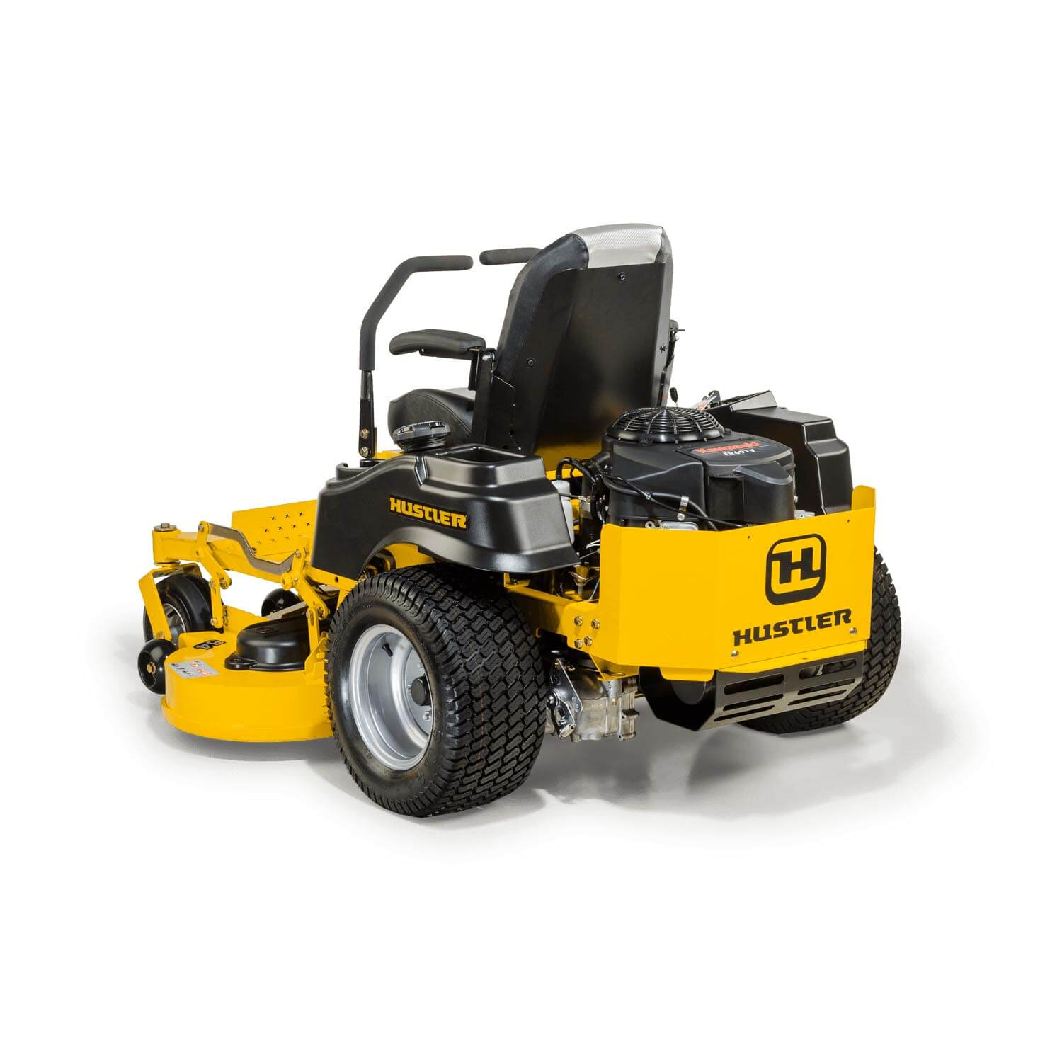Image of the rear three quarters of a yellow riding mower