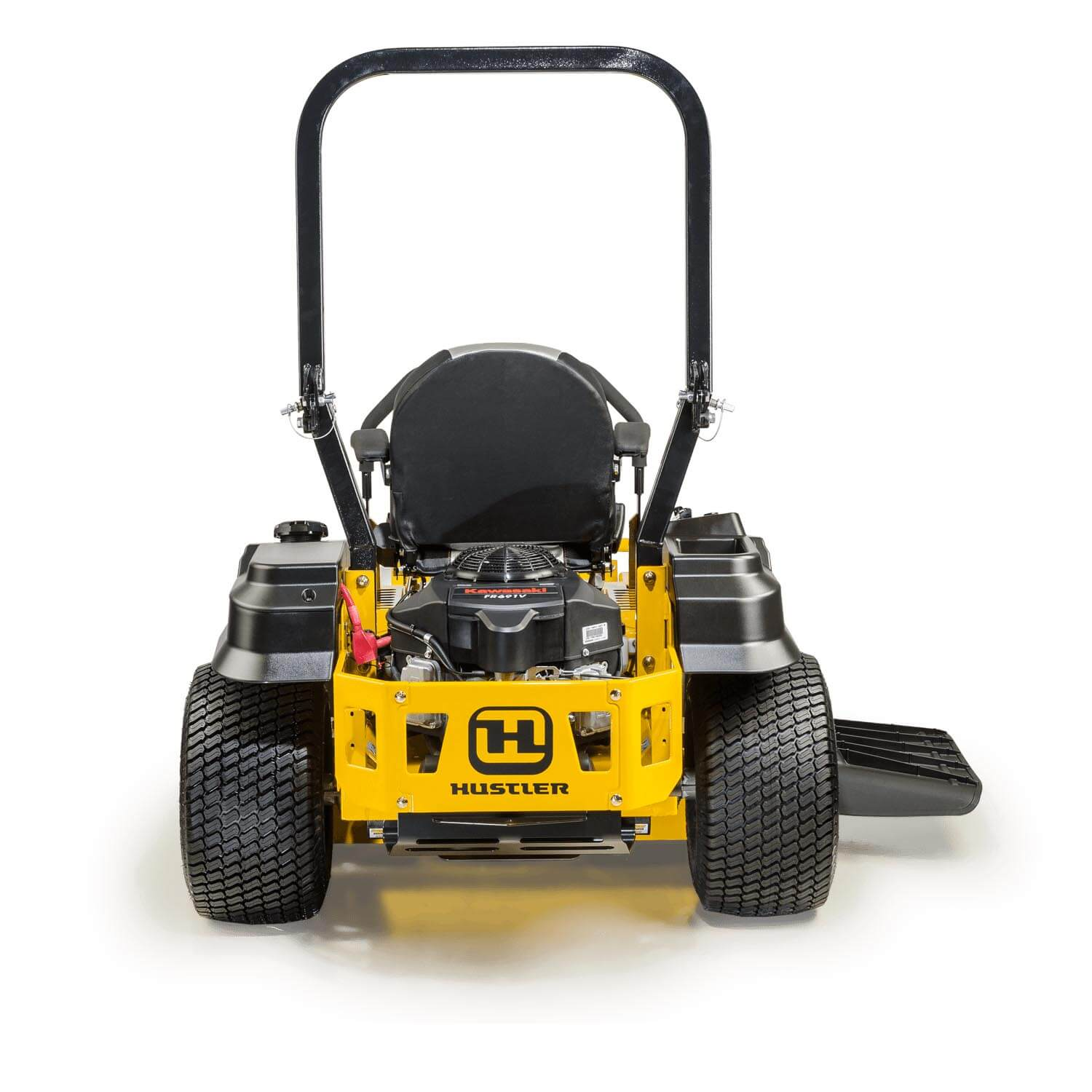 Image of rear of a yellow riding mower