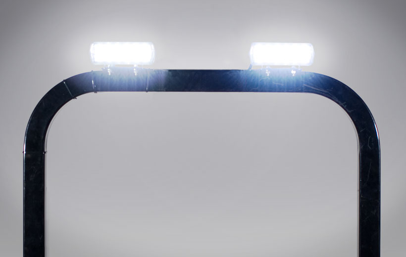 Image of lights mounted on a roll over bar