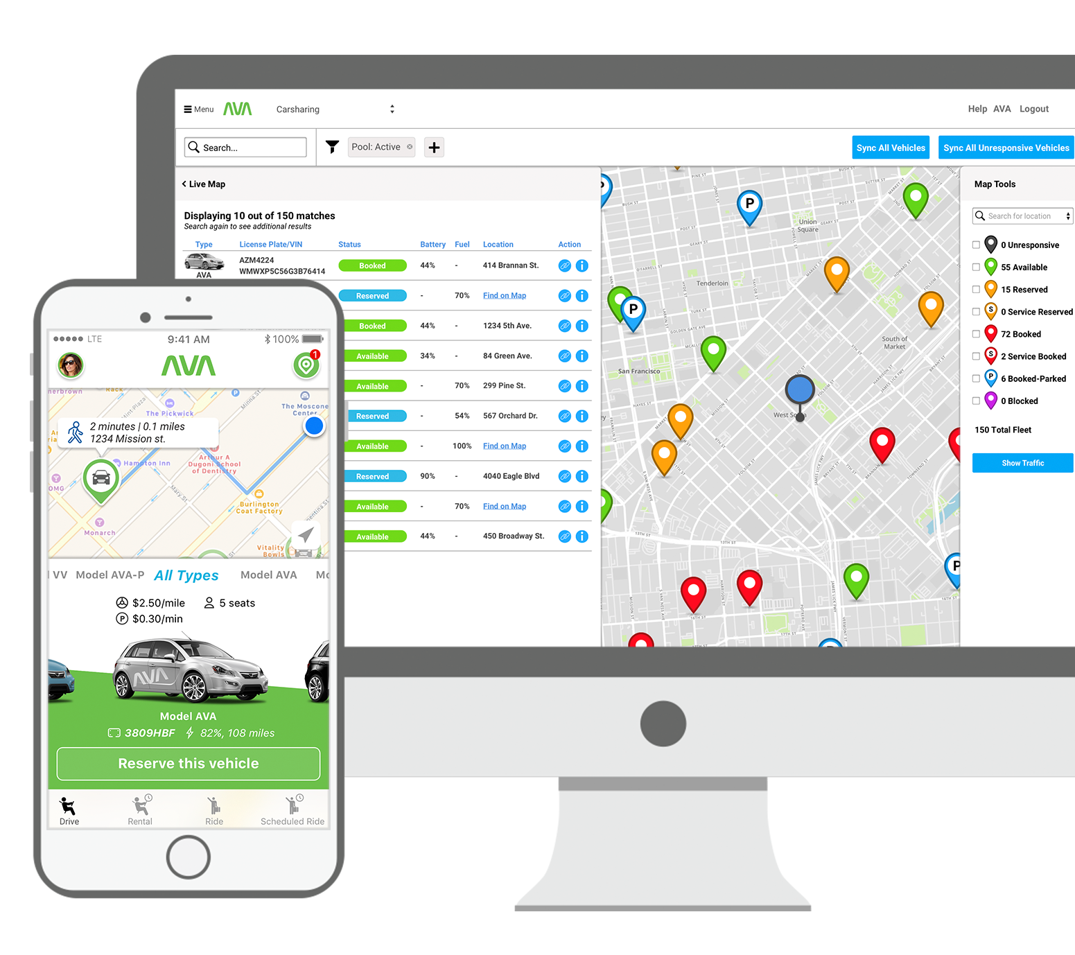 Ridecell's carsharing app