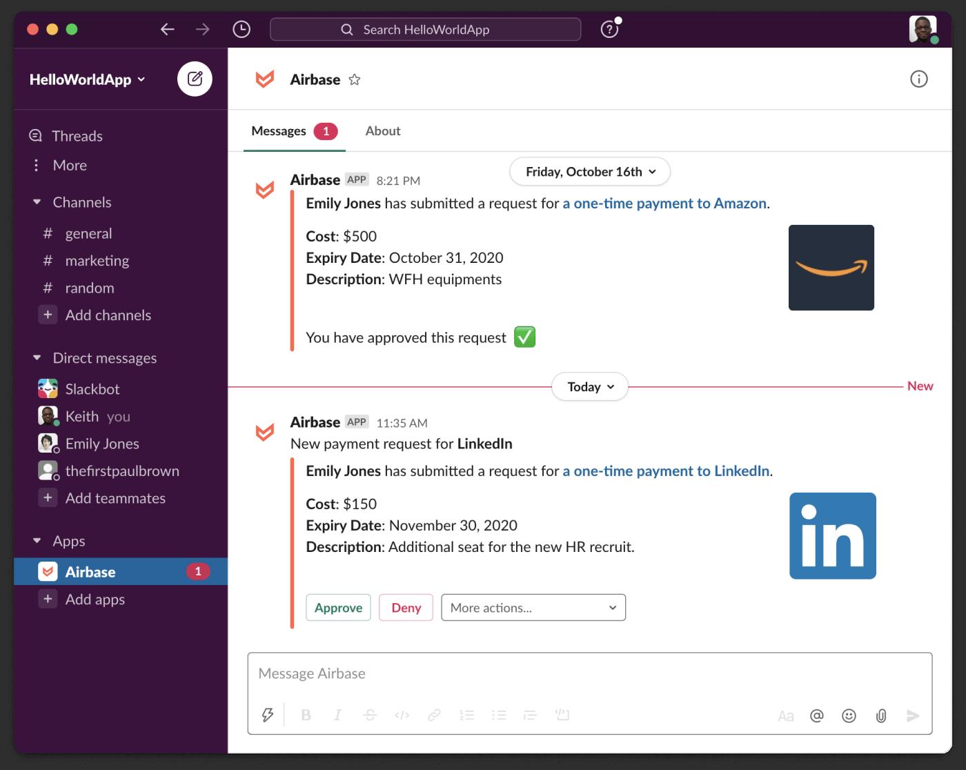 Airbase integrates into Slack.