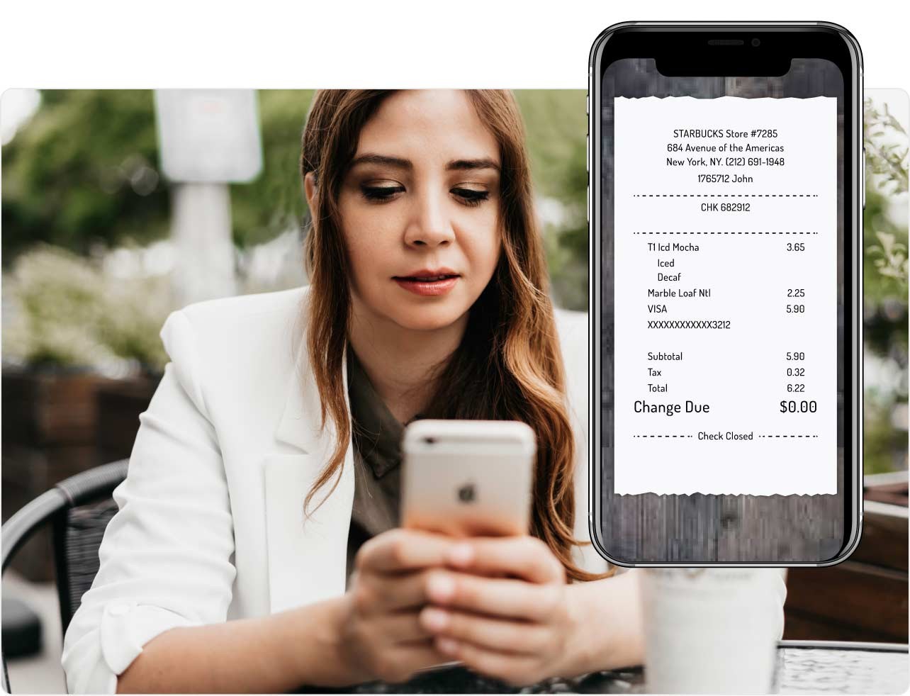 Add a receipt to a physical card transaction when prompted.