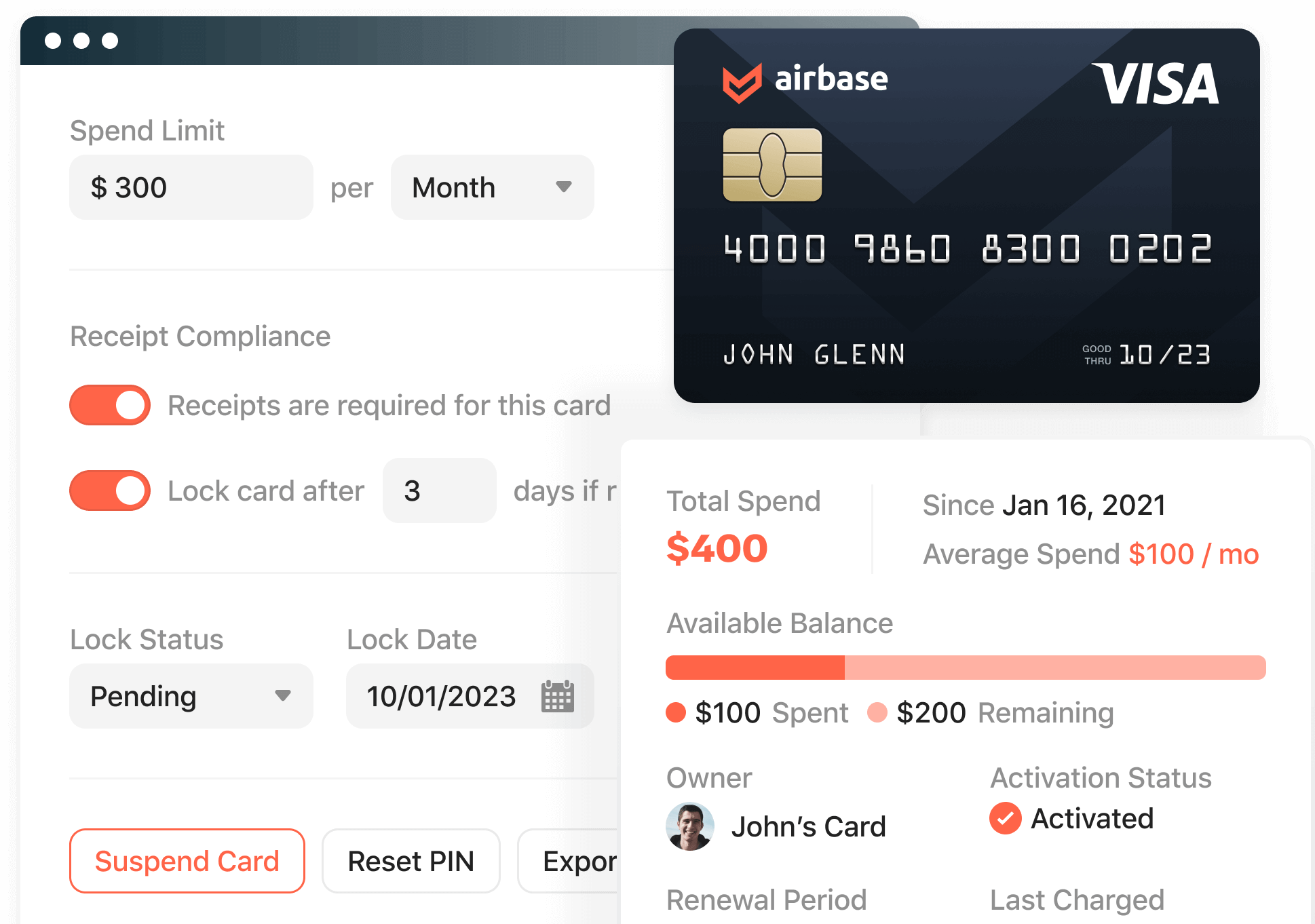 Product screenshot of corporate cards product inside the Airbase platform.