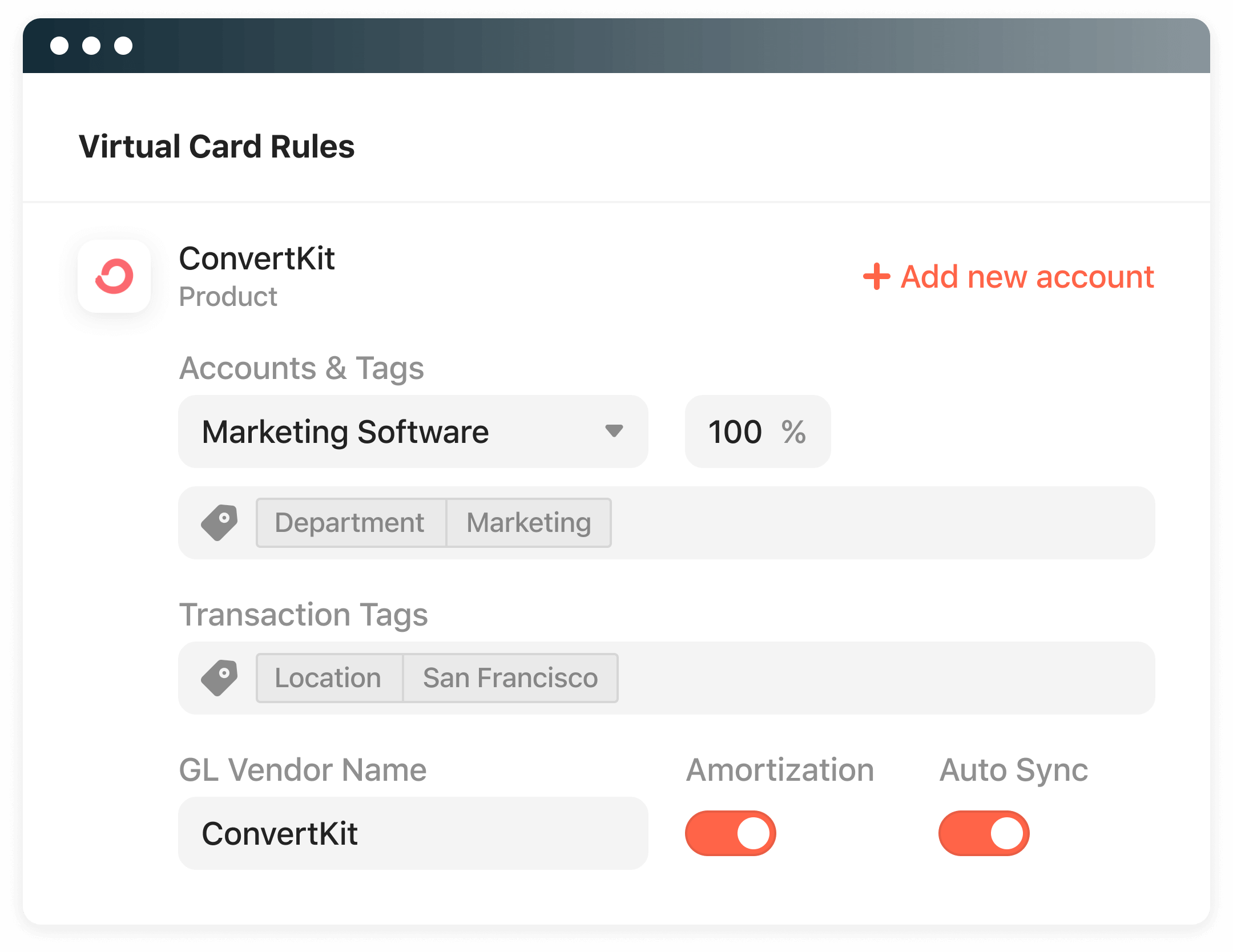 Airbase accounting automation lets you set the rules for accounts and tags.