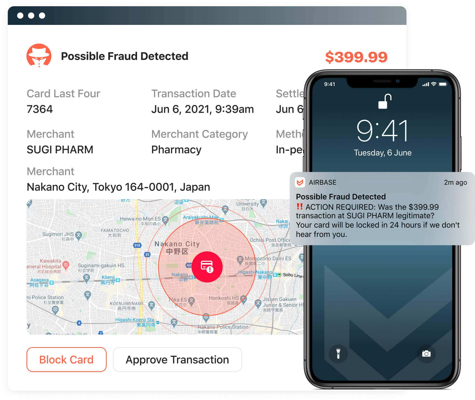 Graphic displaying the automatic fraud detection alerts Airbase can send to cardholders.