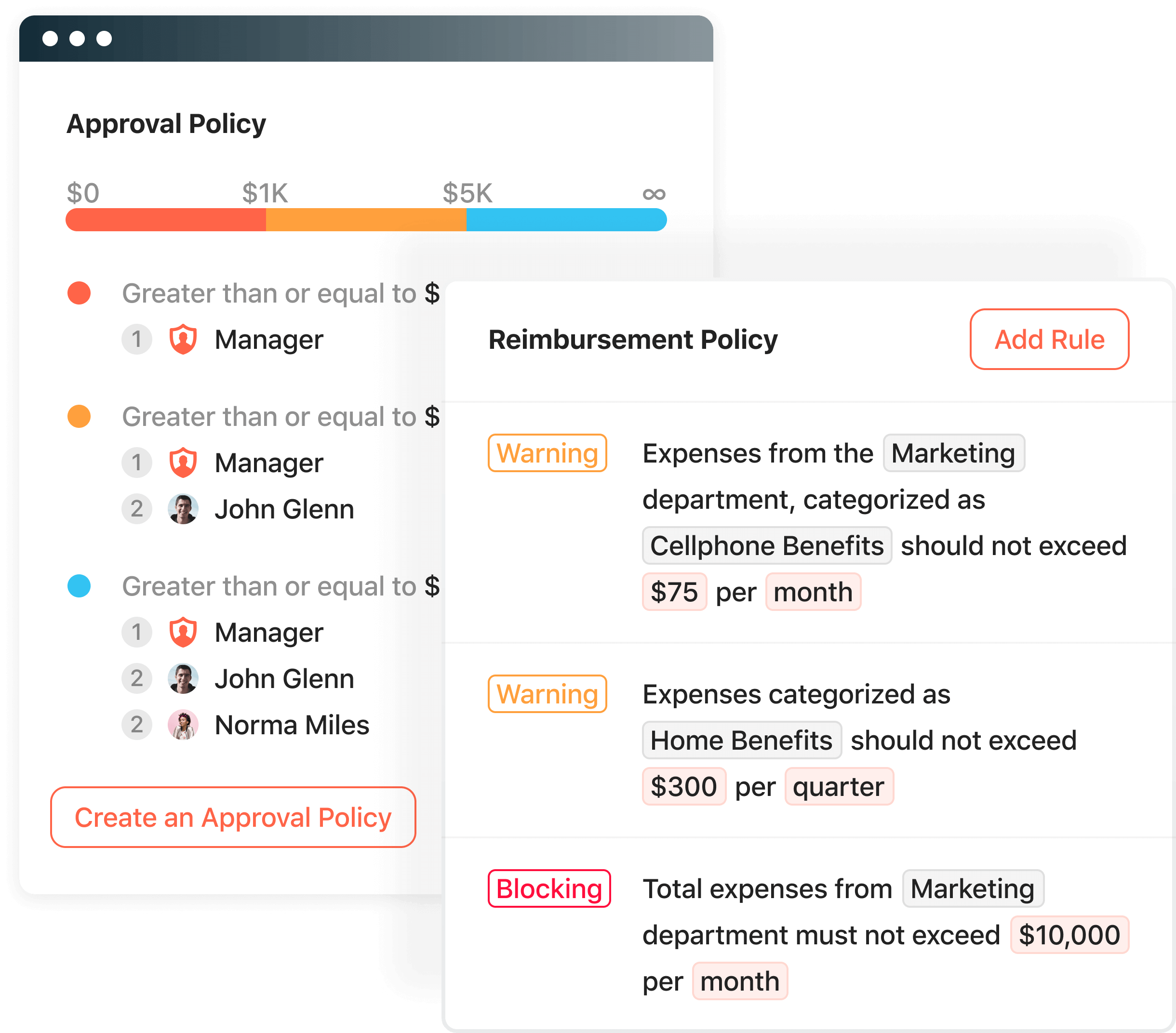 Product screenshot displaying the policies and approvals that can be set up.