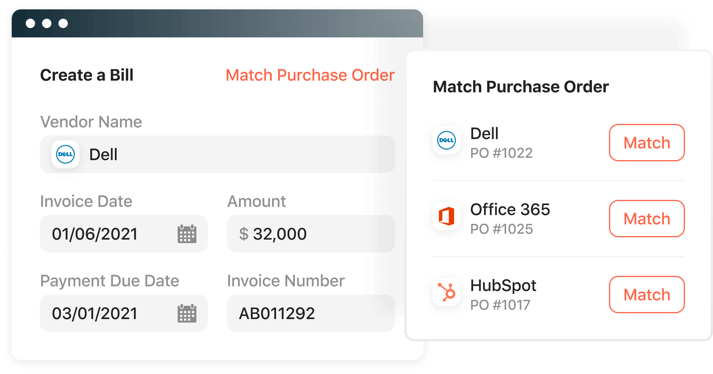 Create a bill from an invoice and match to a PO.
