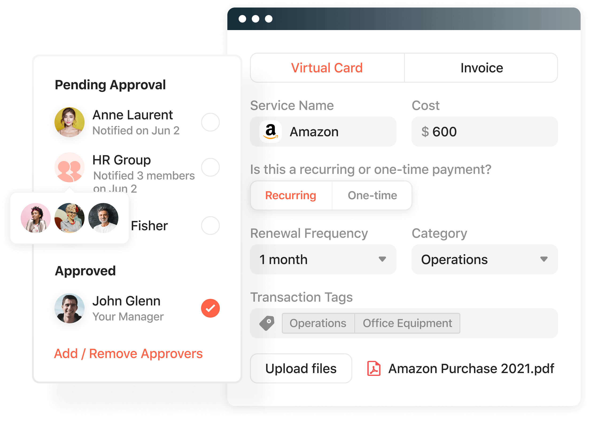 Product screenshot displaying a multilayered approval workflow.