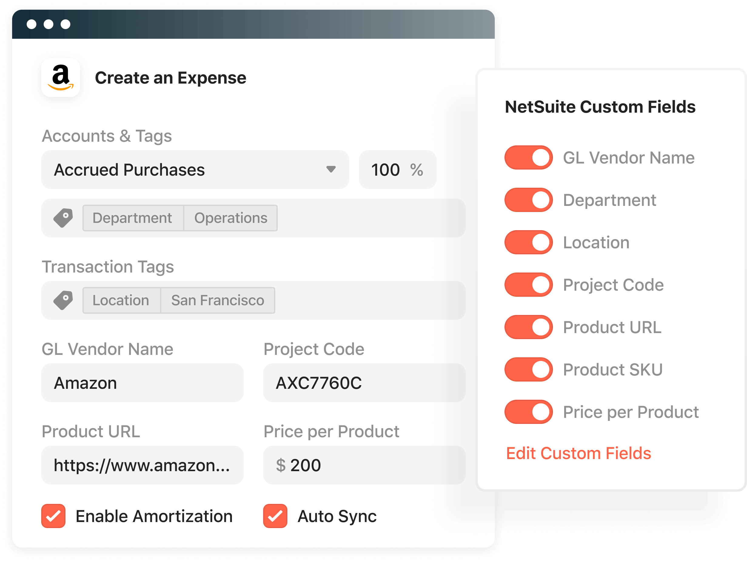 Product screenshot showing the custom field selections for NetSuite integration with Airbase.