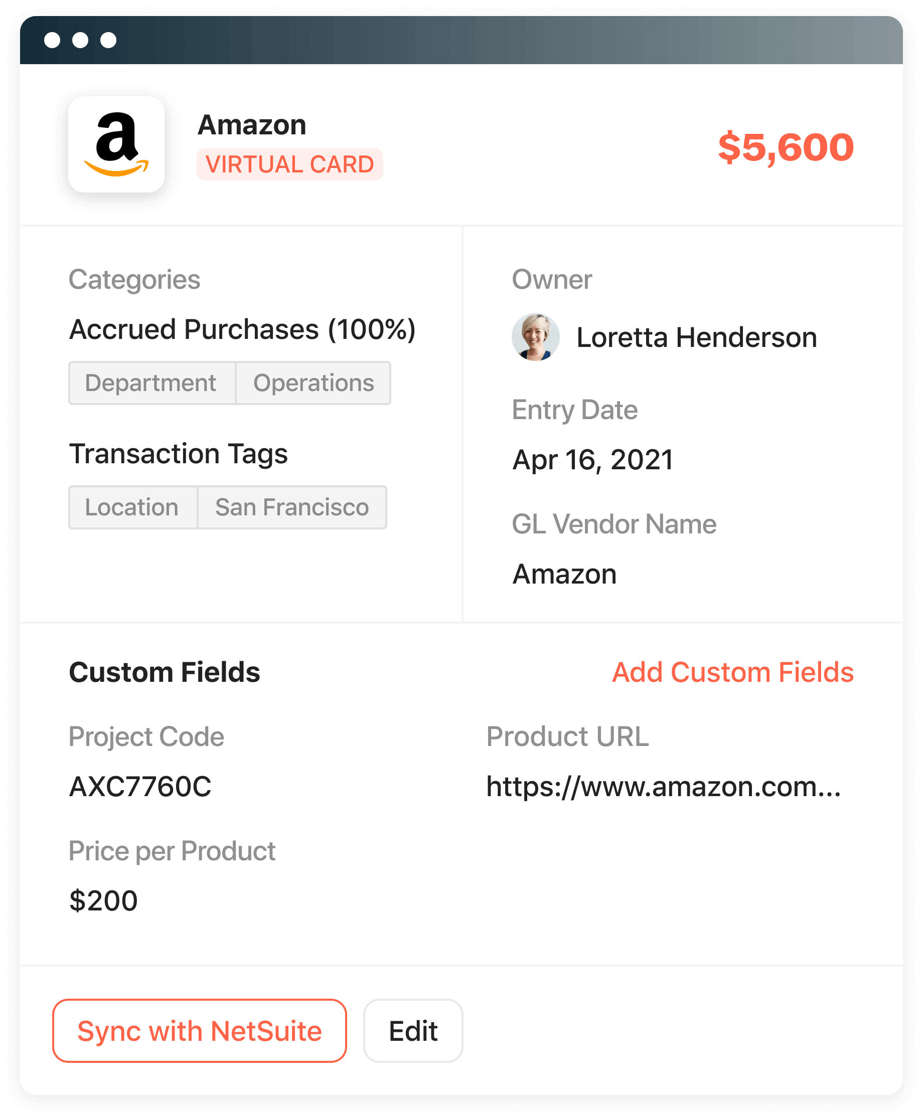 Product screenshot displaying custom fields you can create to sync with NetSuite.