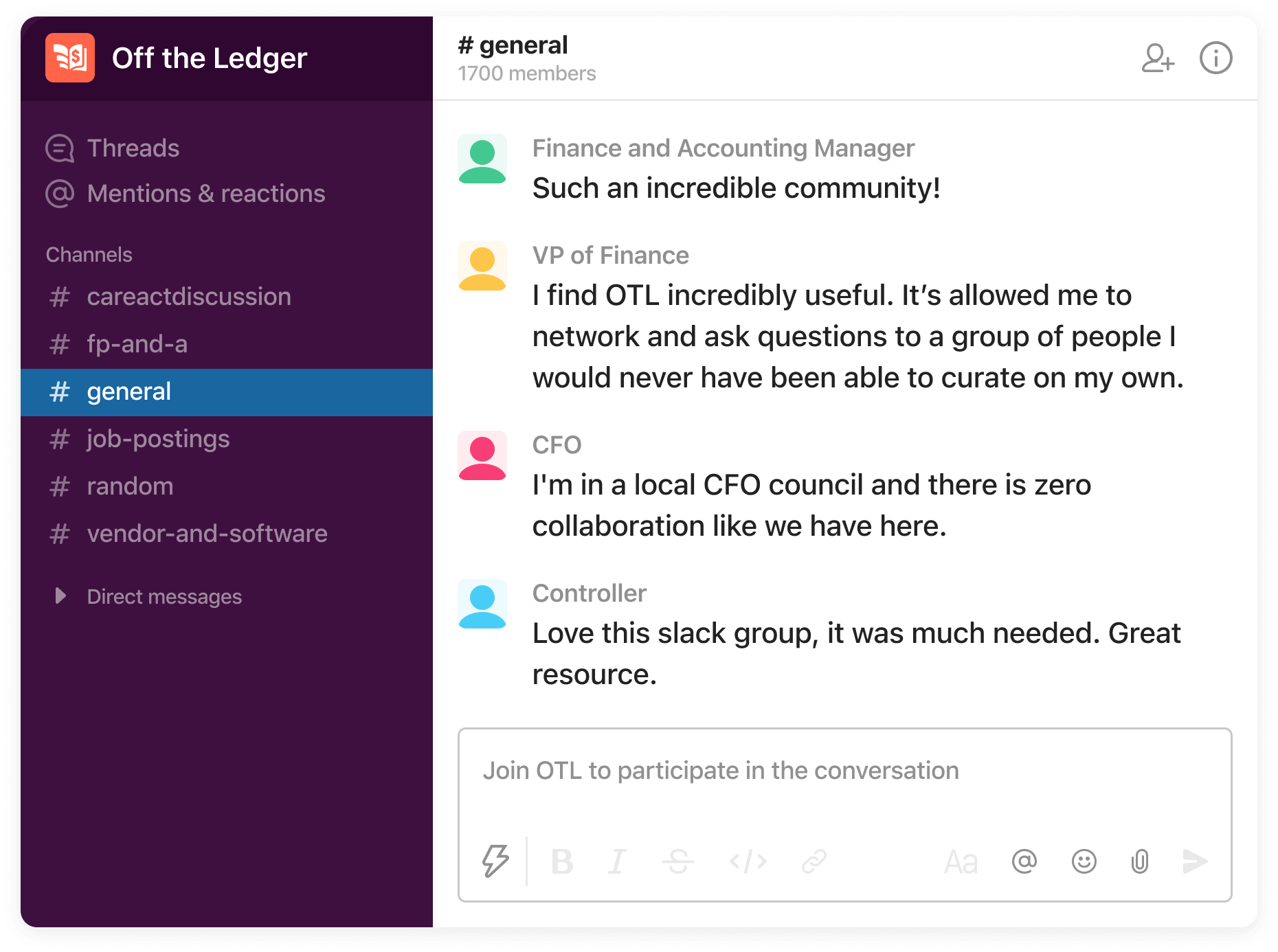 Slack screenshot displaying the off the ledger finance and accounting group.