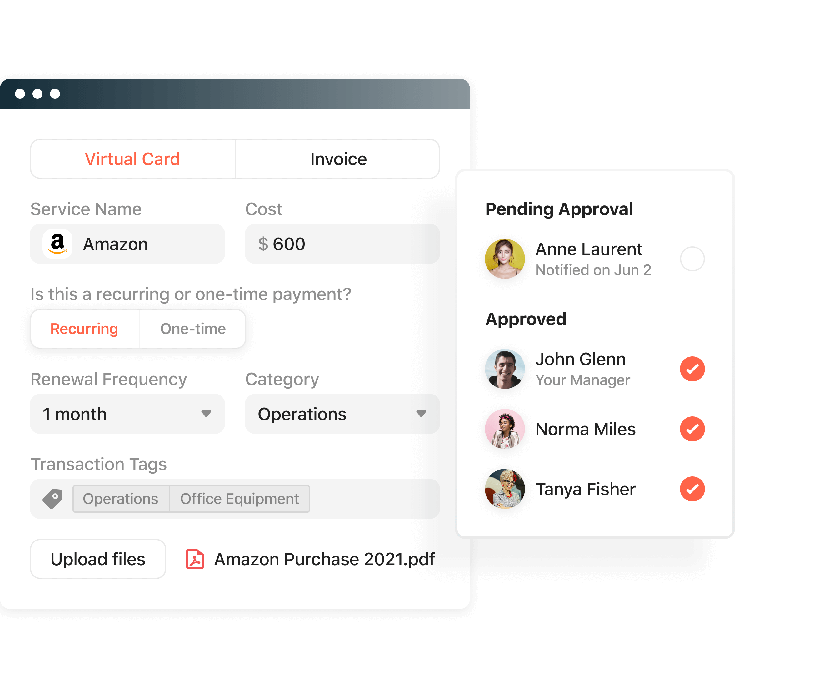 Product screenshot displaying the approval workflows within Airbase.