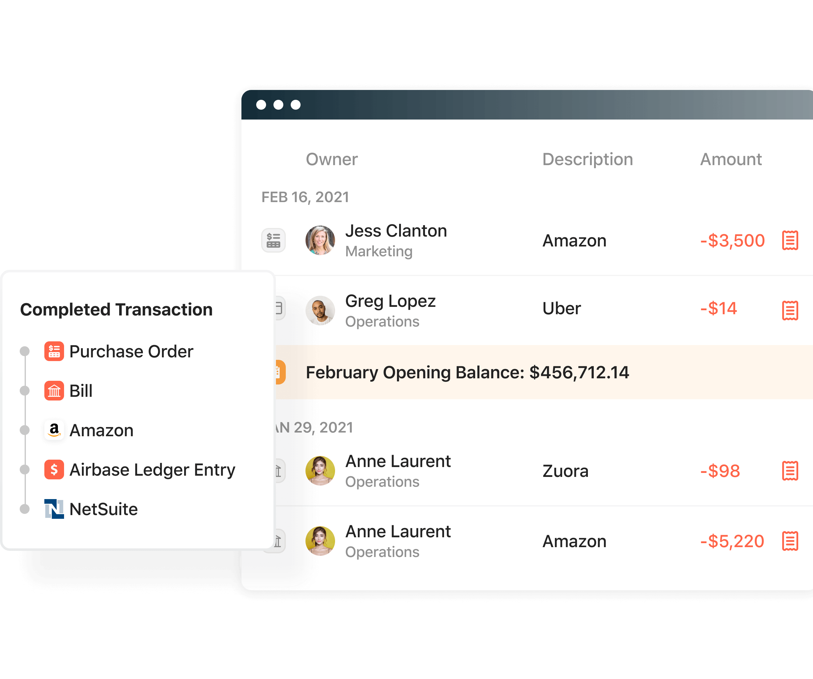 Product screenshot displaying the automated accounting functionality in Airbase.