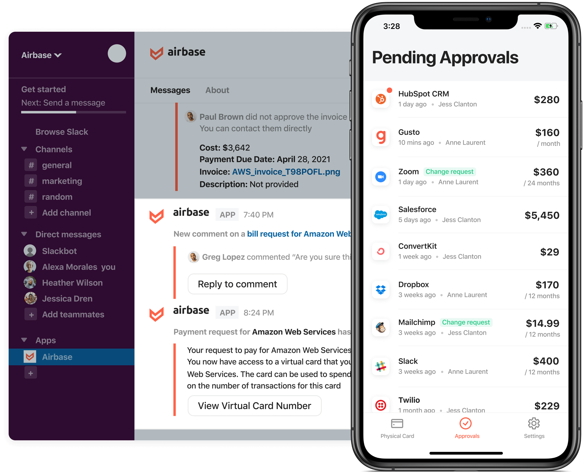 Product screenshot showing pending approvals and integrating into Slack.