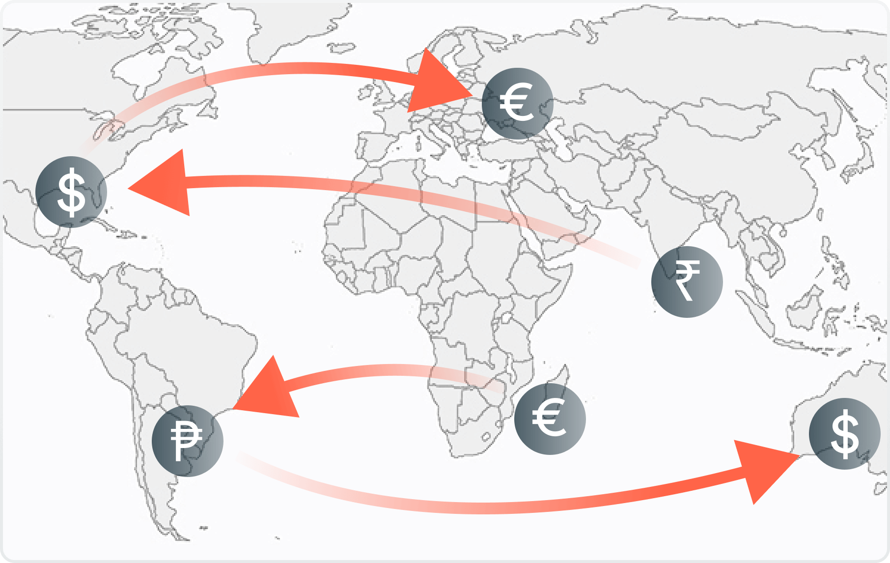 Graphic of a map visualizing international payments. Pay vendors world-wide.