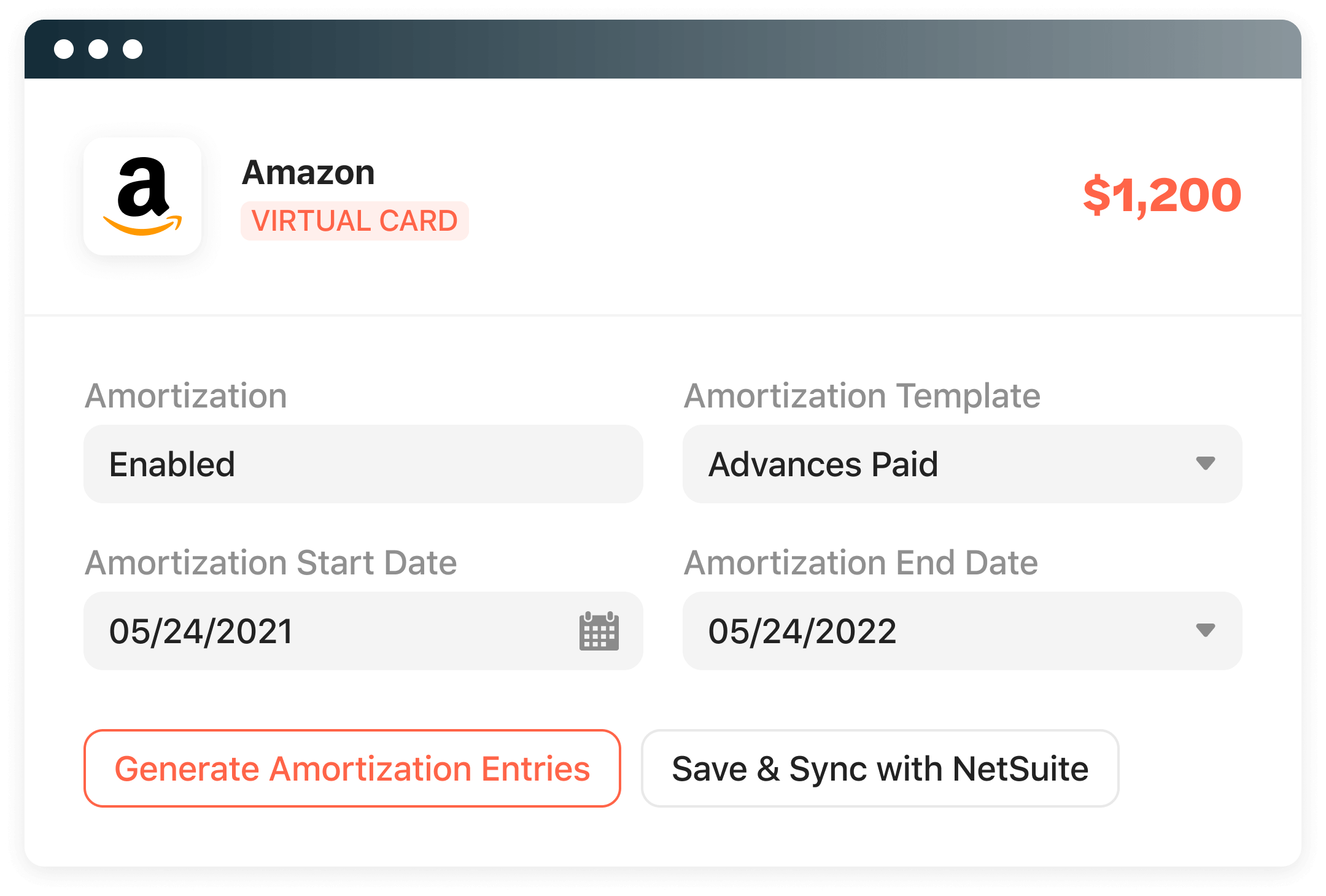 Amortize virtual card payments.