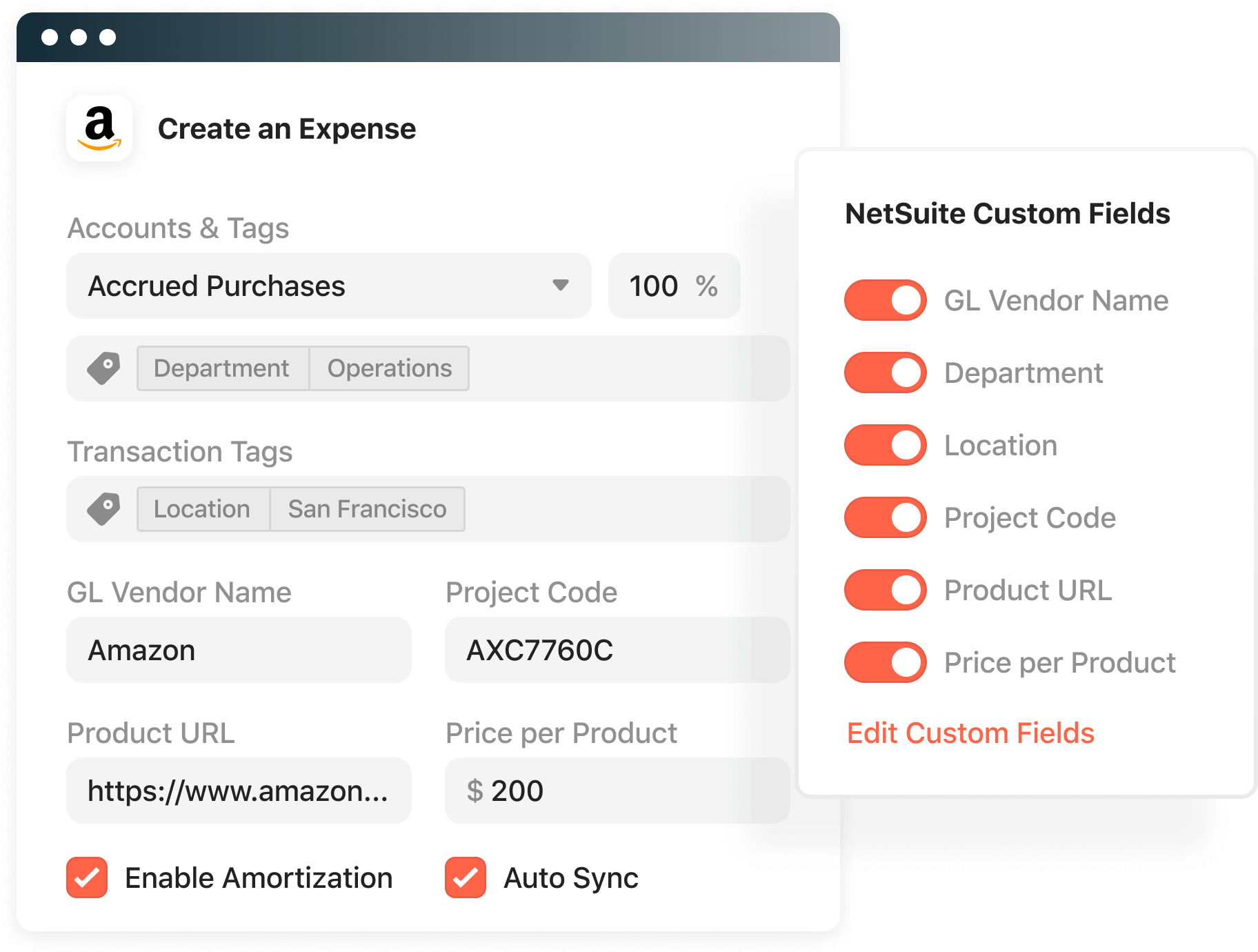 Product screenshot displaying the custom fields you can configure within Airbase.