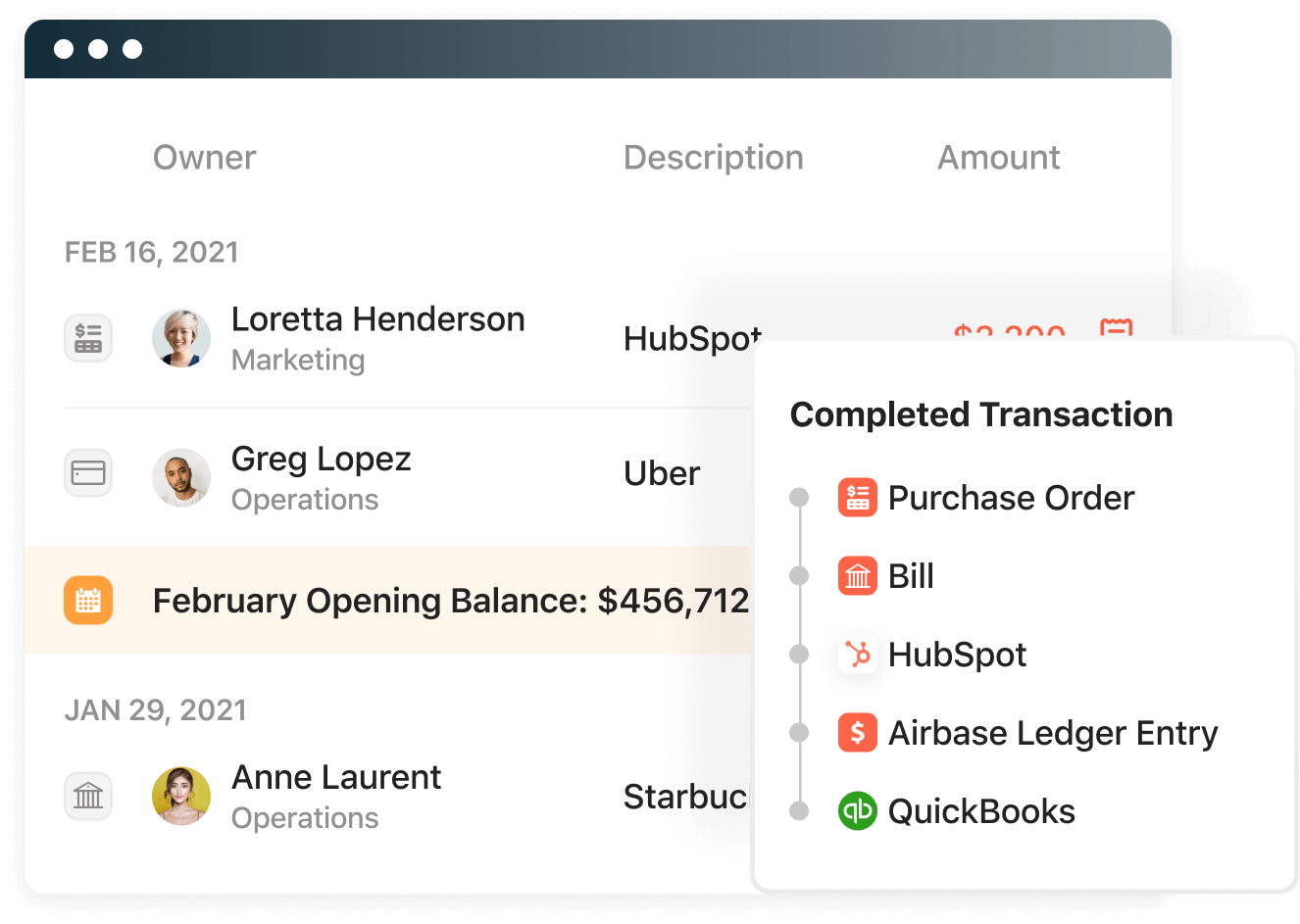 Product screenshot displaying the pre accounting workflows in Airbase.