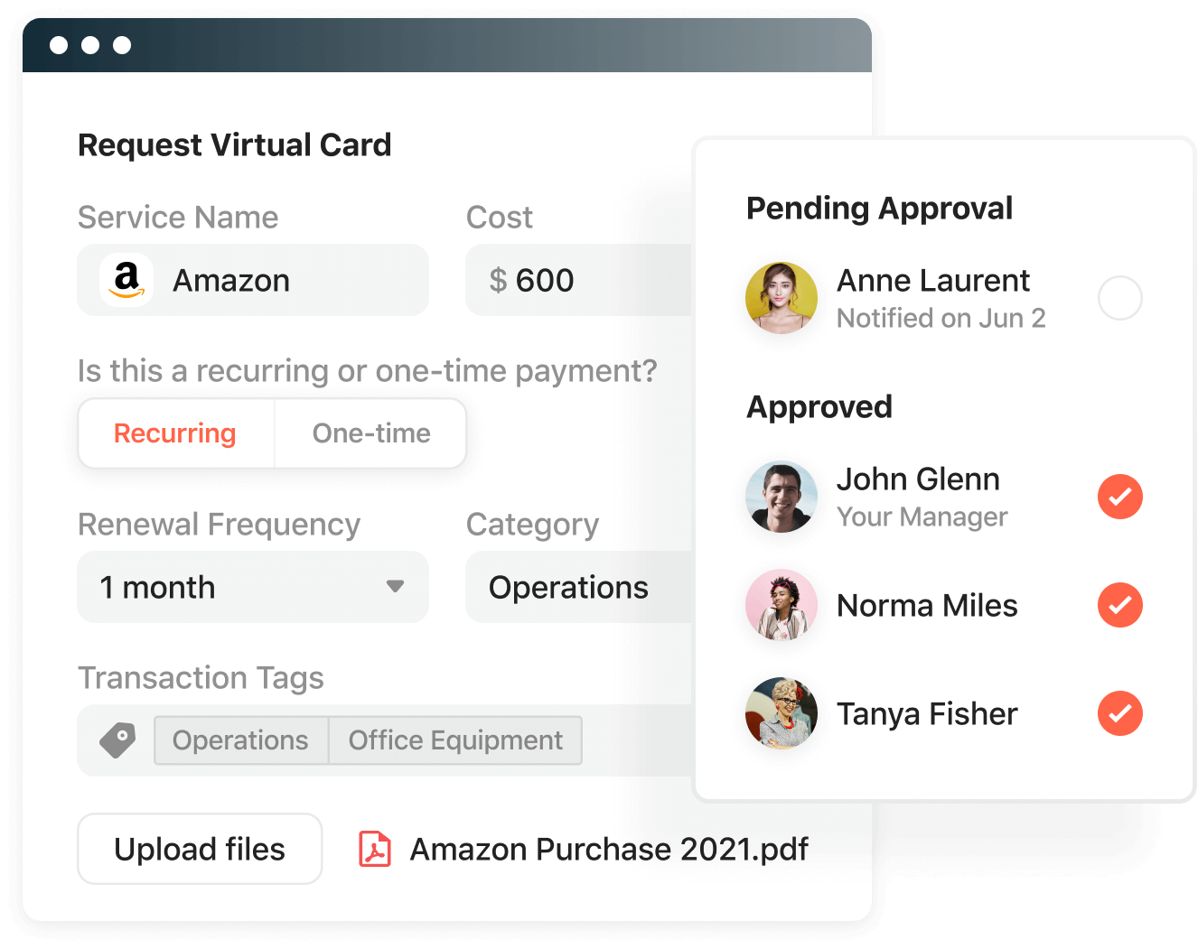 Airbase virtual cards come with approval workflows.