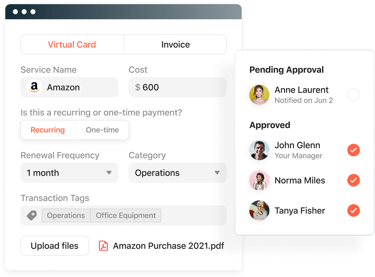 Airbase spend management allows employees to request and for managers to approve spend directly in Slack.