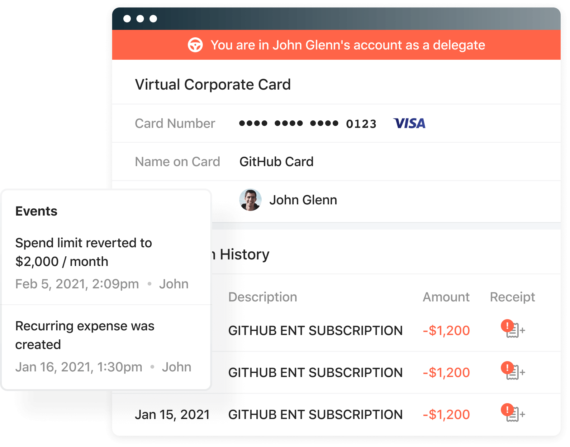 Delegated access lets a delegate manage payments and receipts.