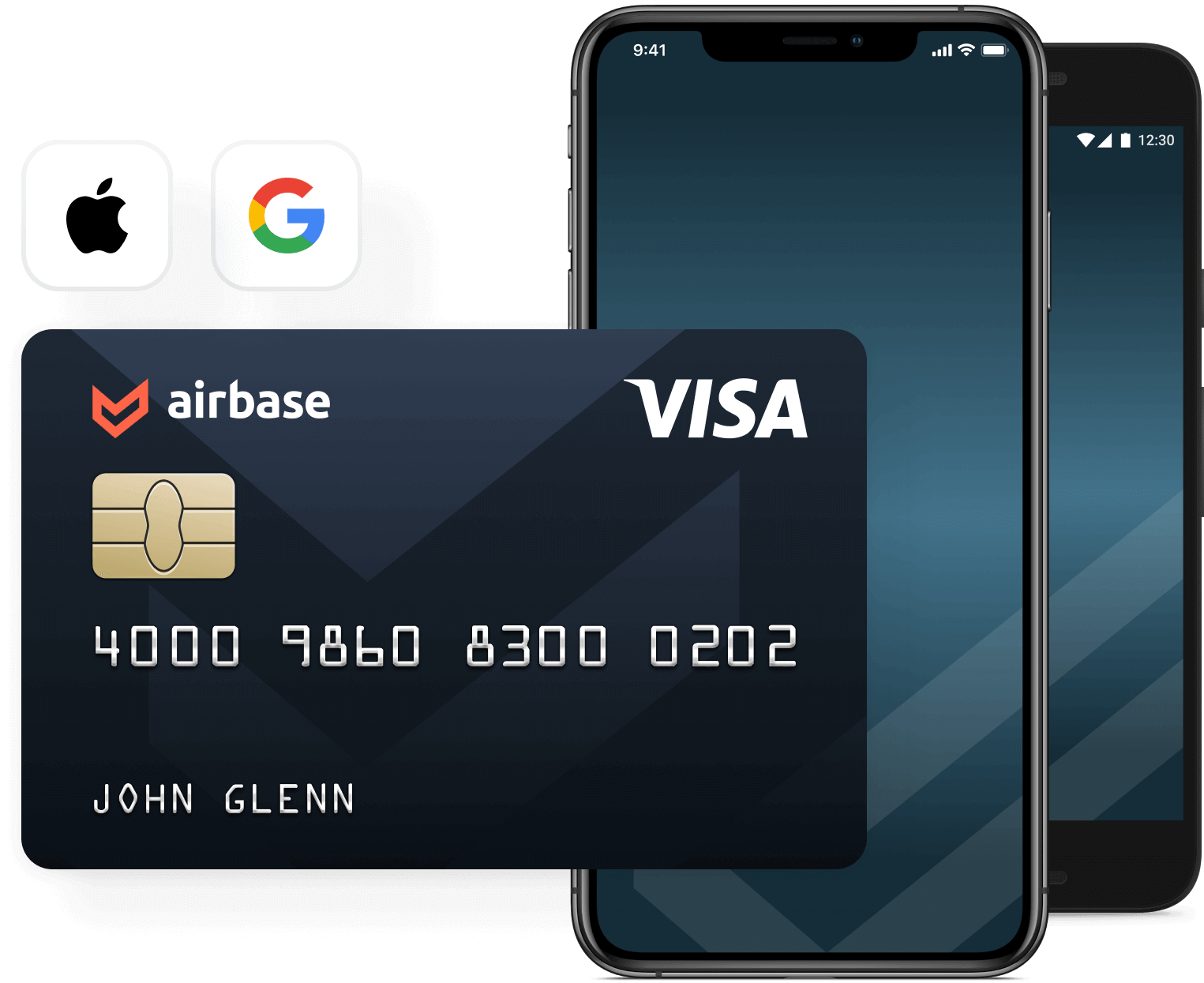 A graphic showing an Airbase Visa Card on a mobile device.