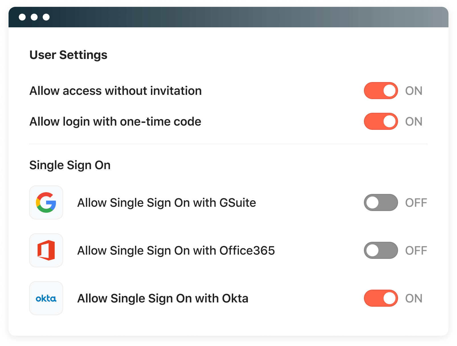Use your Google, O365, or Okta login to sign on to Airbase.