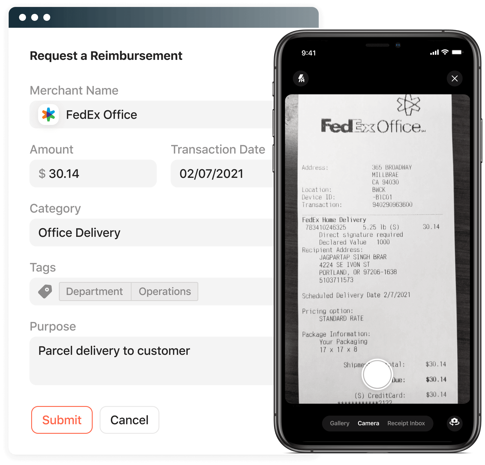 Save time on expense reports with easy receipt capture and receipt reminders.