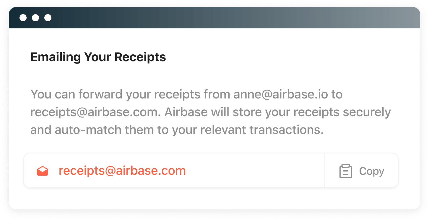 Email receipts to a specific email address for easy processing and handling.