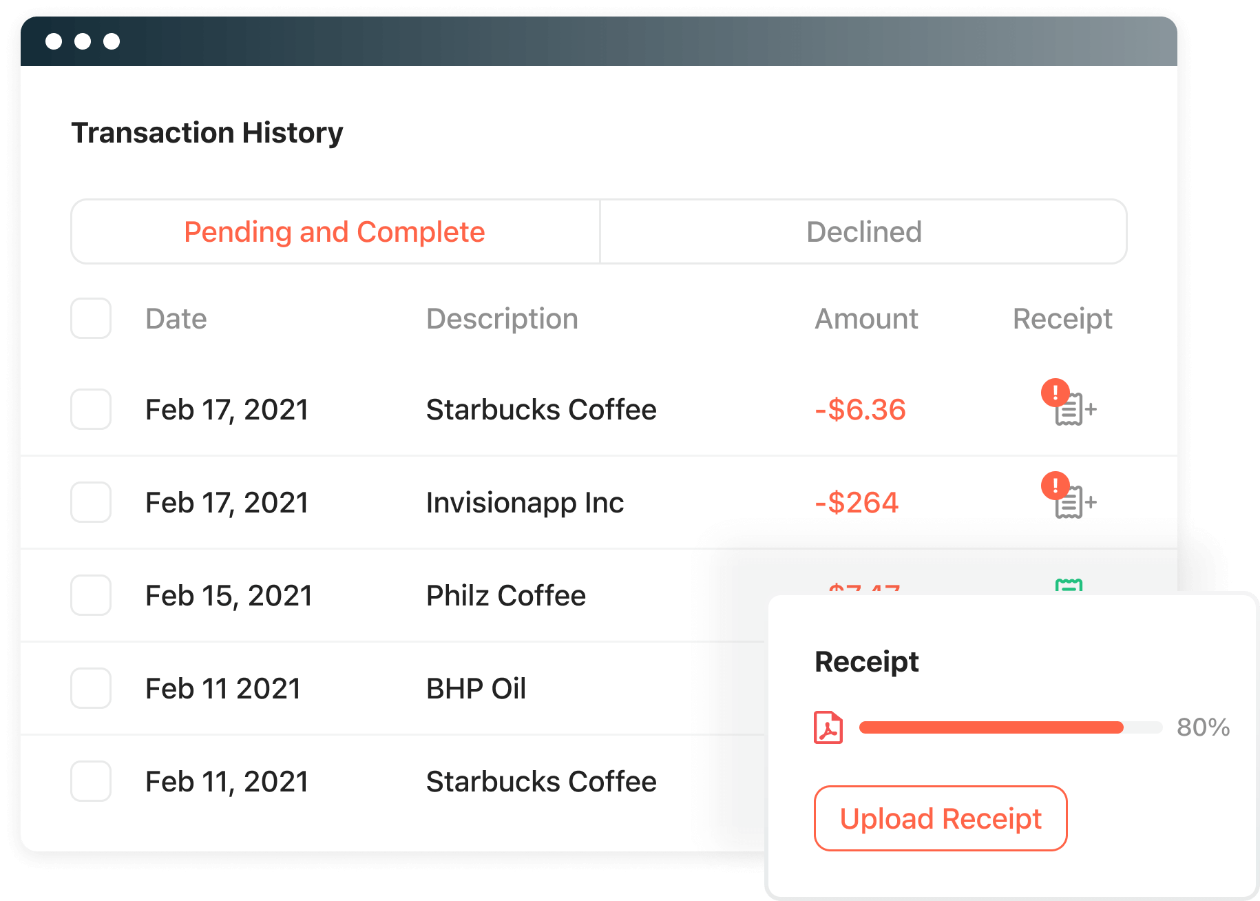 Attach receipts easily whether they are digital or physical.