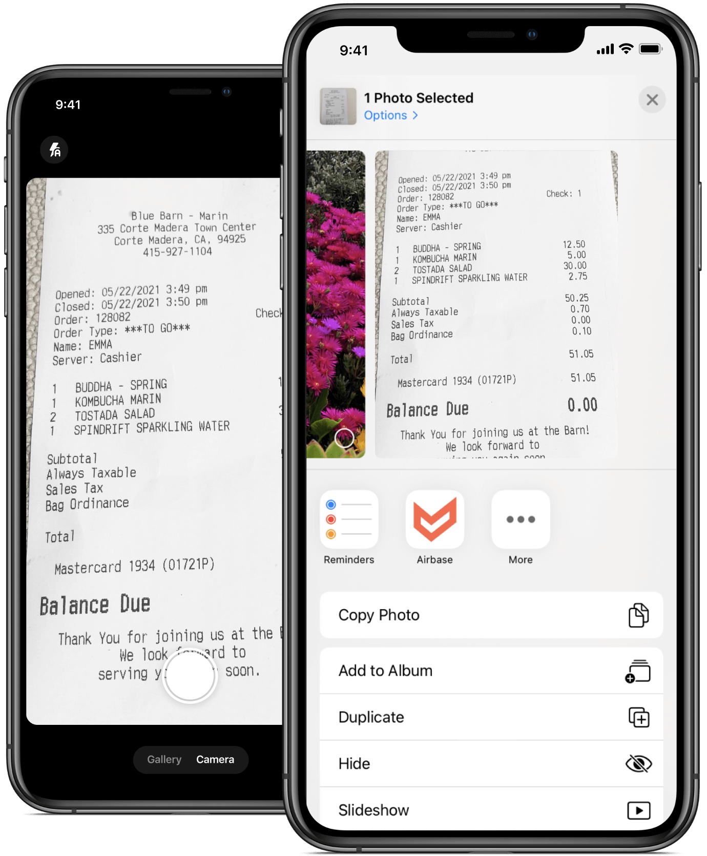 If you have receipts in another mobile app you can easily share them to your Airbase app.