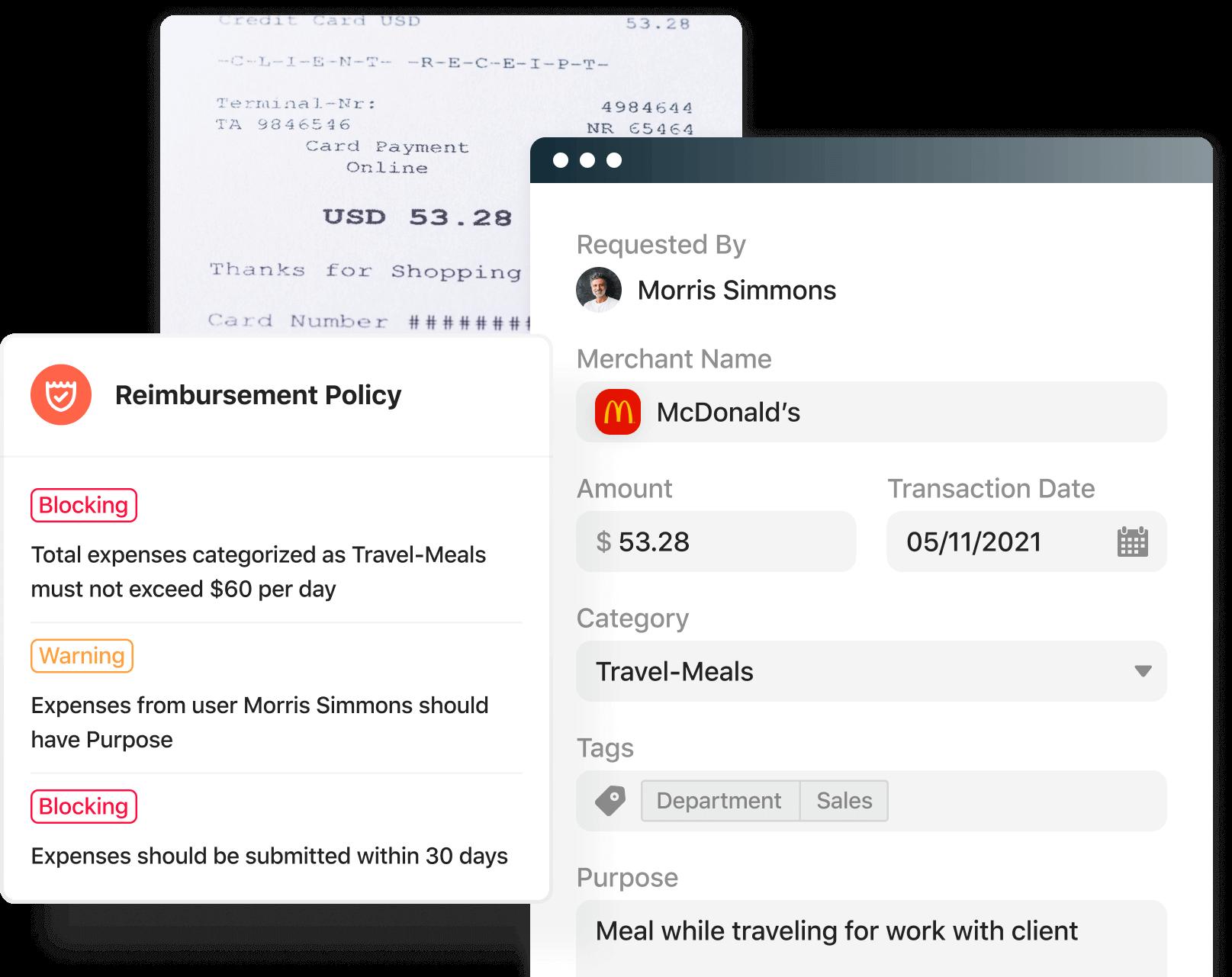 Screenshot of the reimbursement product in the Airbase platform.