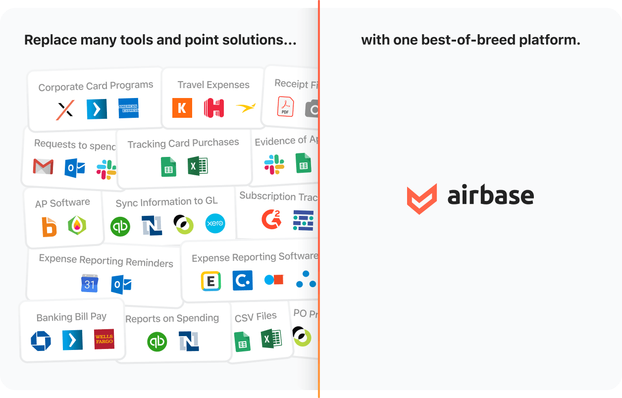 Graphic comparing all of the tools Airbase can replace.