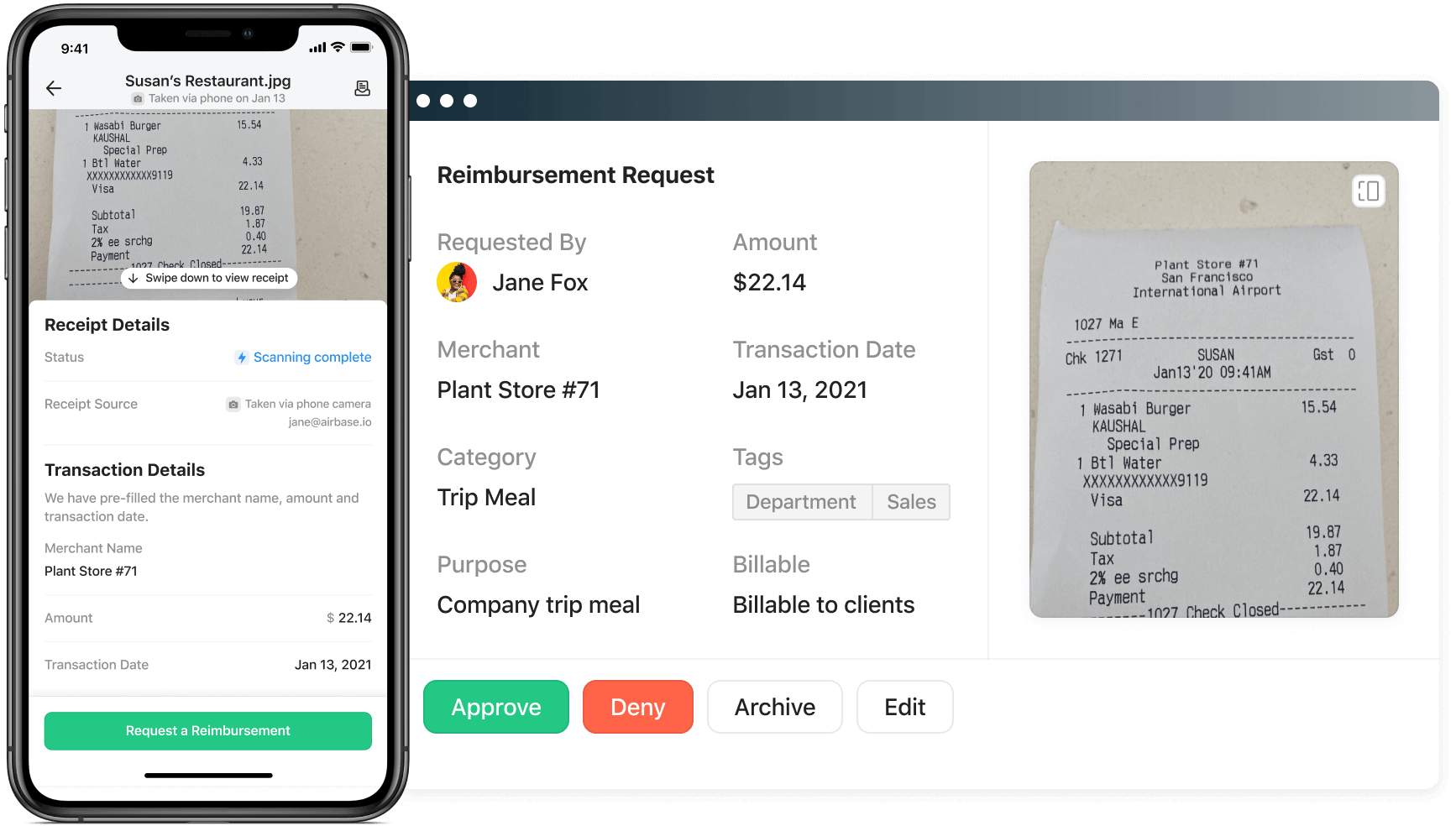 Graphic of a Reimbursement request. Airbase makes employee expenses easy.