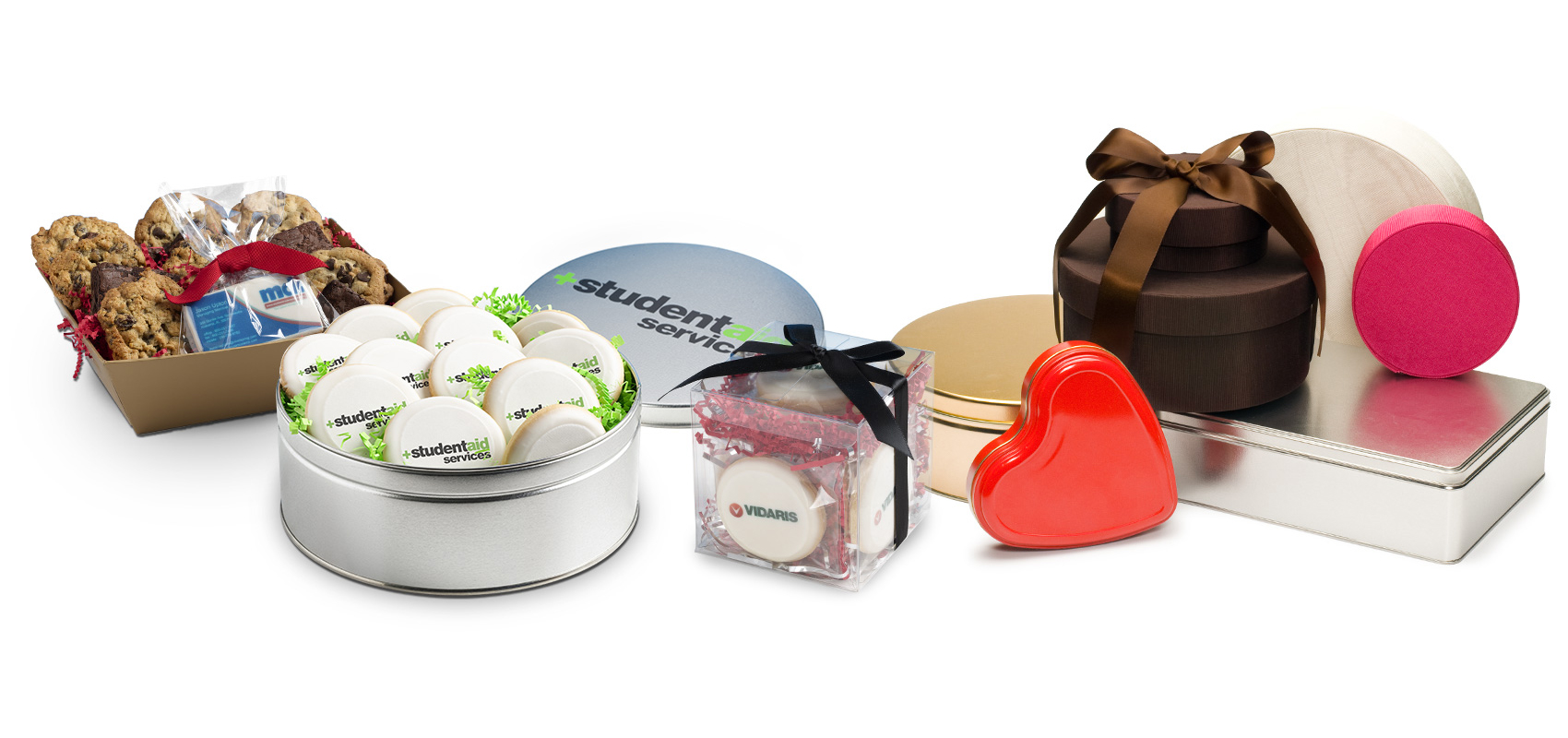 Custom logo cookies in various gift containers.