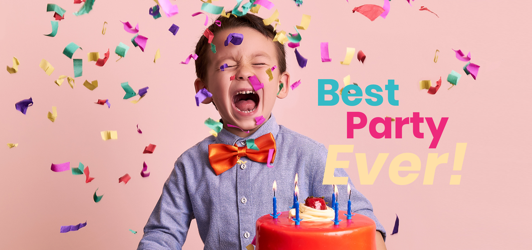 Happy child celebrating with birthday cake.