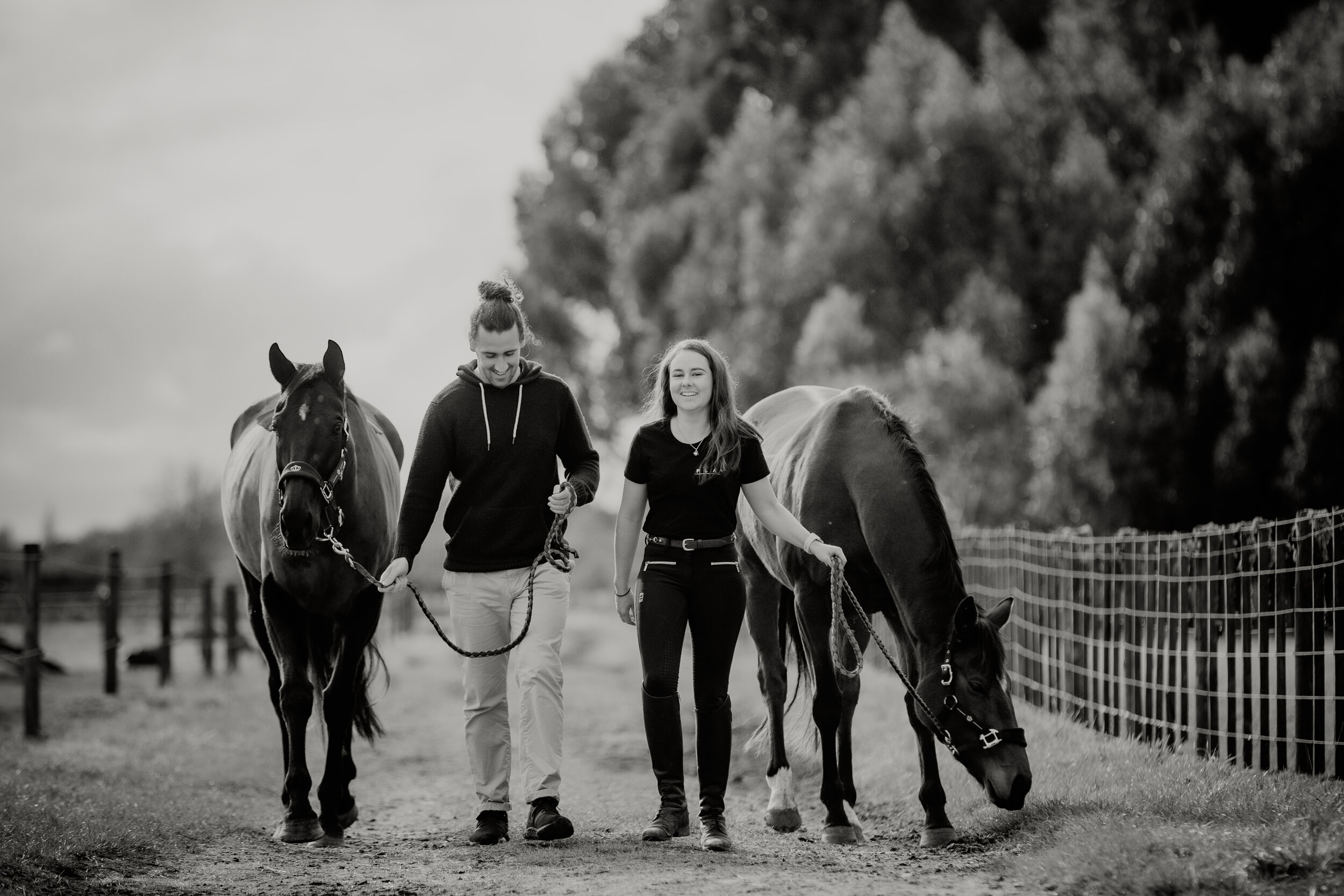 Dan and Nicky with their horses - Cornege Photography