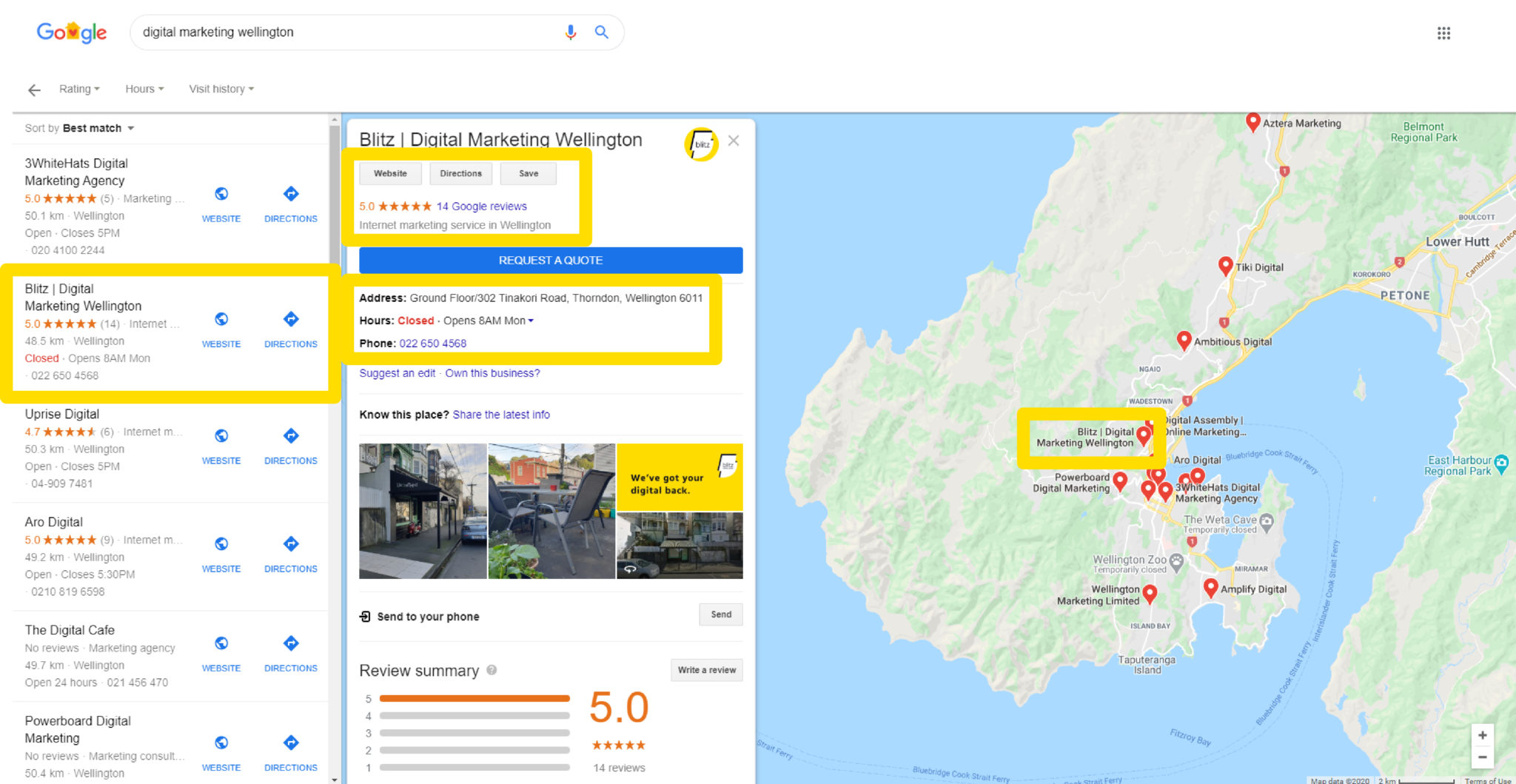 Overview of results related to digital marketing wellington in Google