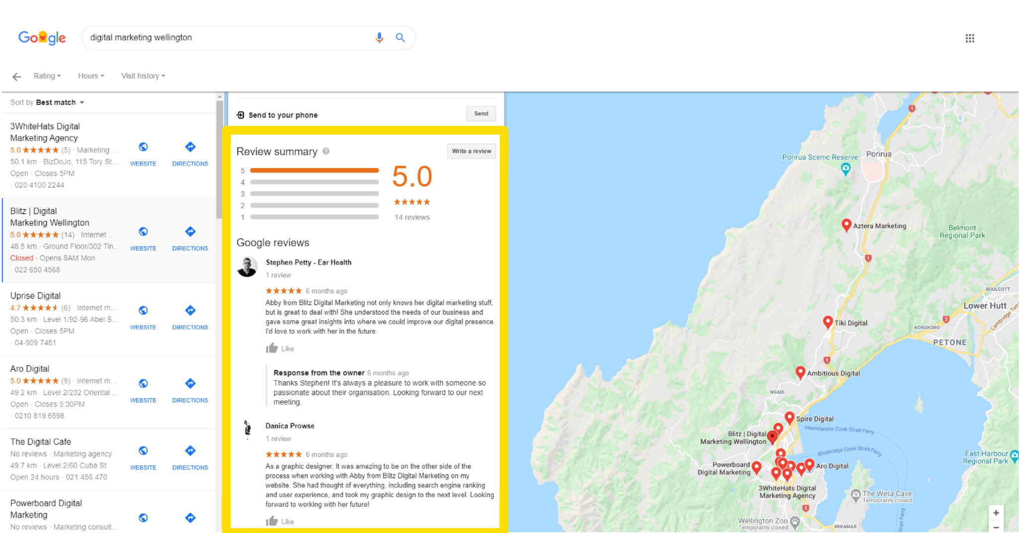 Image showing where and how reviews appear in Google My Business