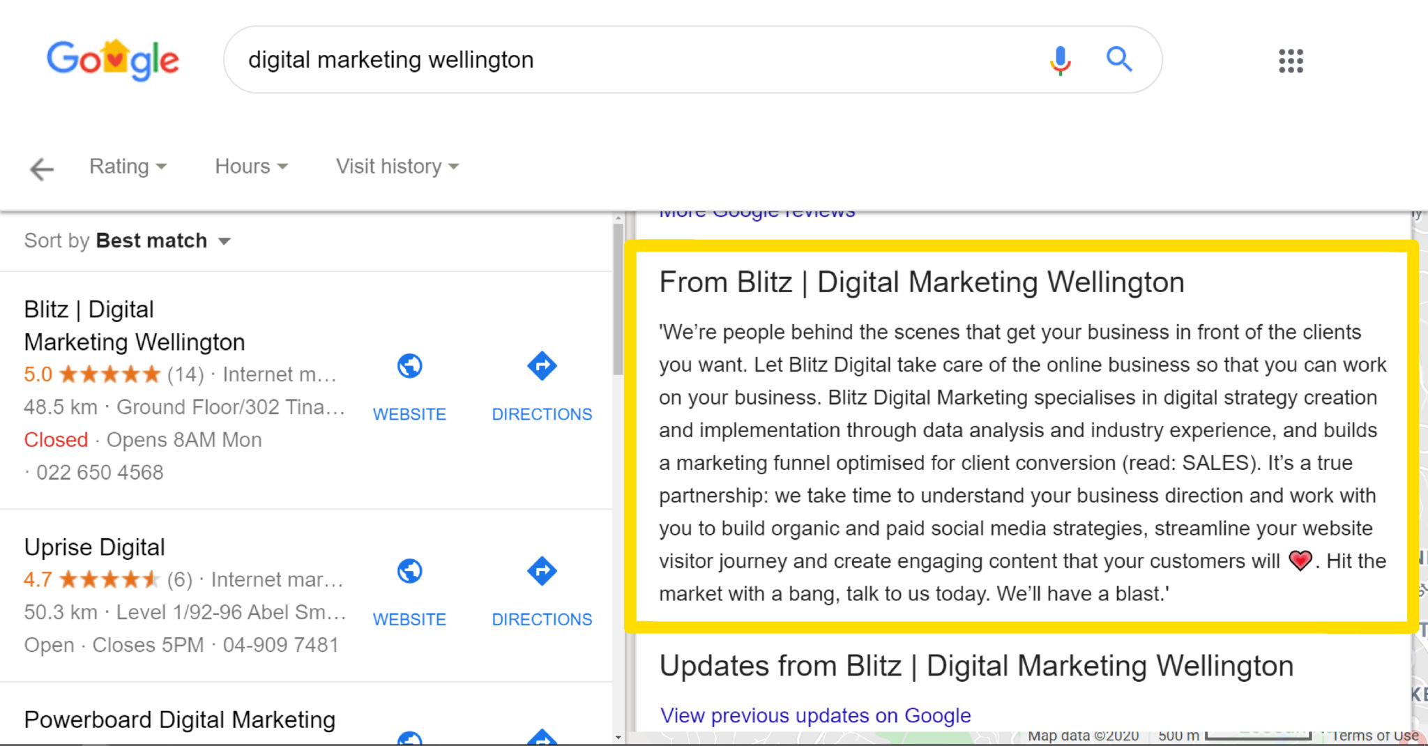 Image showing how a business description that appears in Google Search