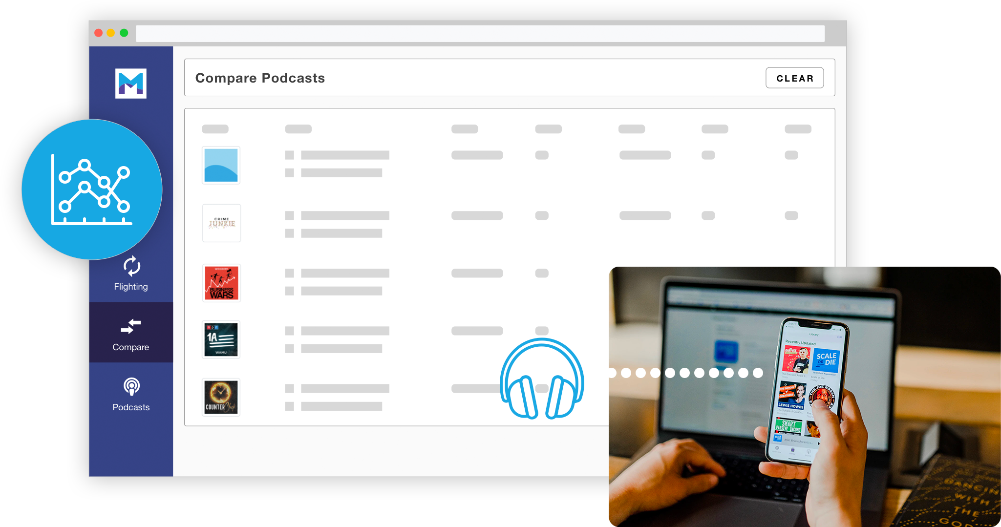 A stylized image of Magellan AI platform showing the compare podcasts feature