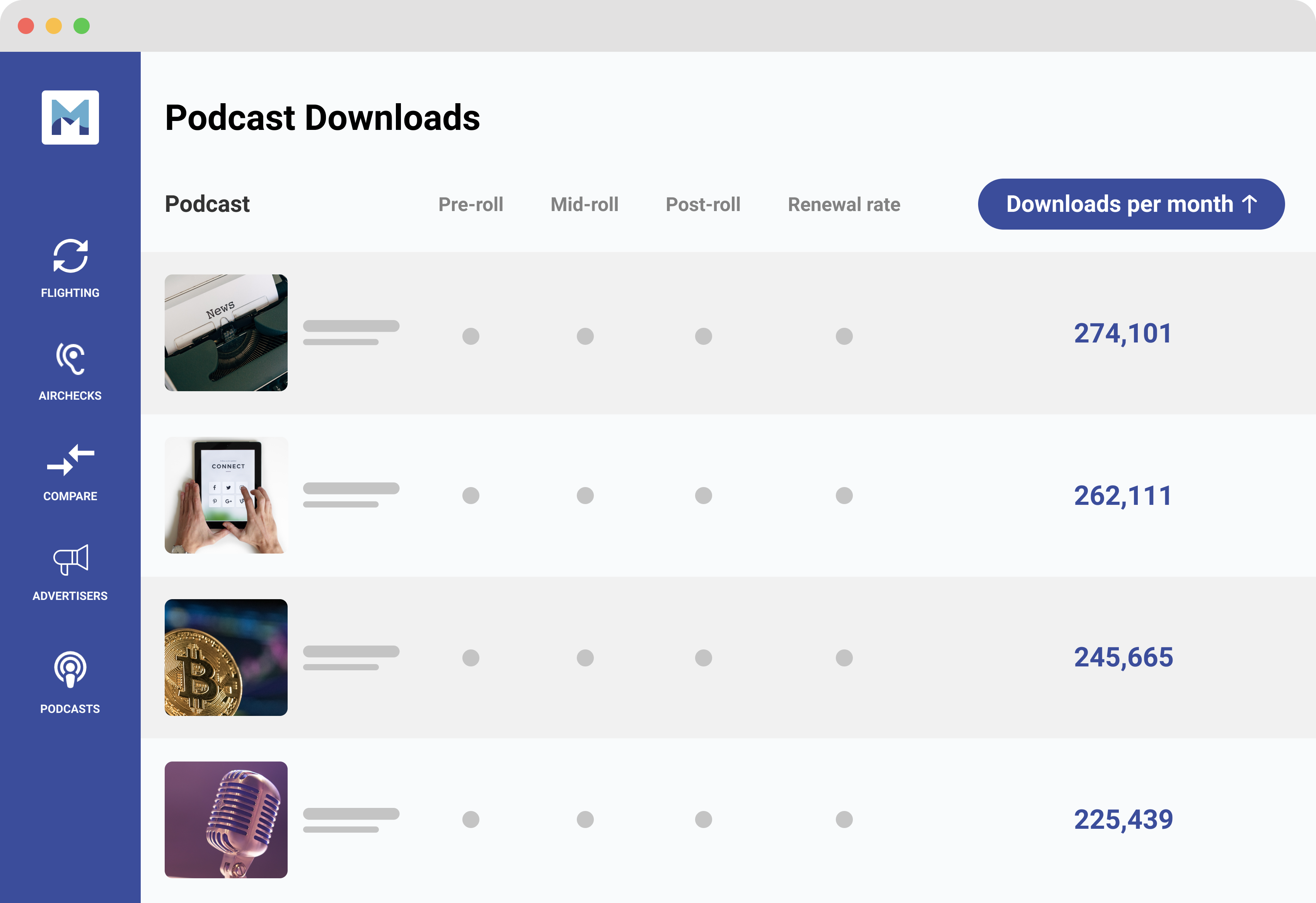 Stylized view of Magellan AI platform with podcast downloads highlighted