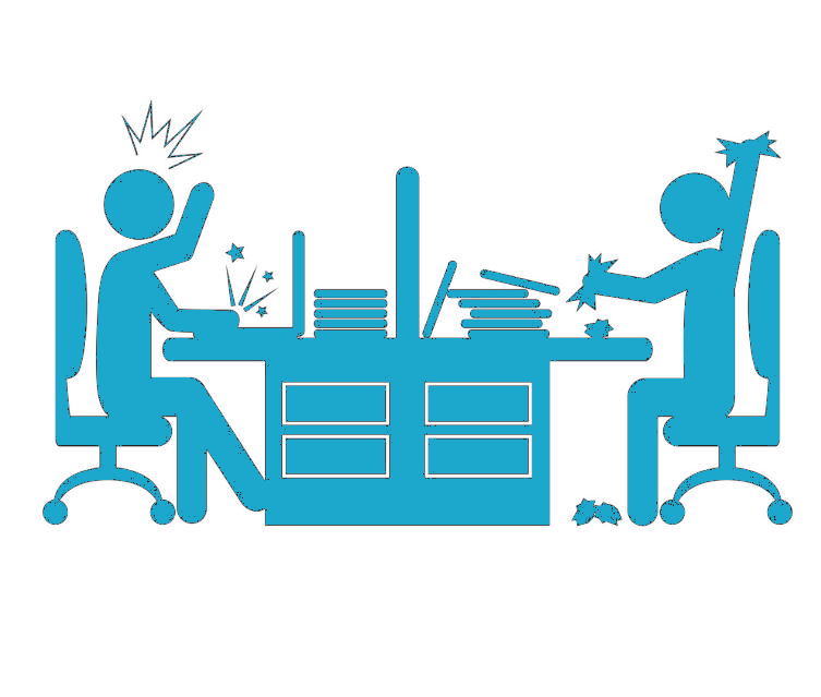 an office desk with two colleagues argueing