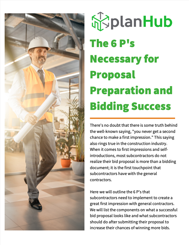 The 6 P's Necessary for Proposal Preparation and Bidding Success