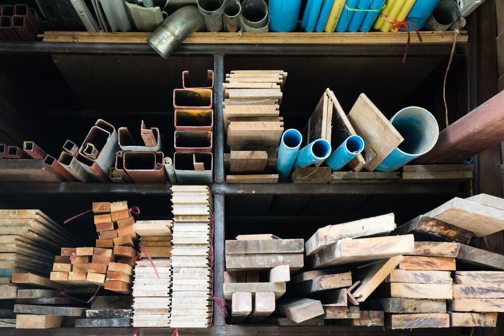 construction materials on shelf