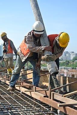 subcontractors laying concrete