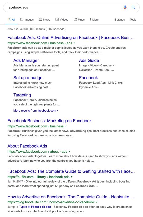 "SERP for ""facebook ad"" keyword"