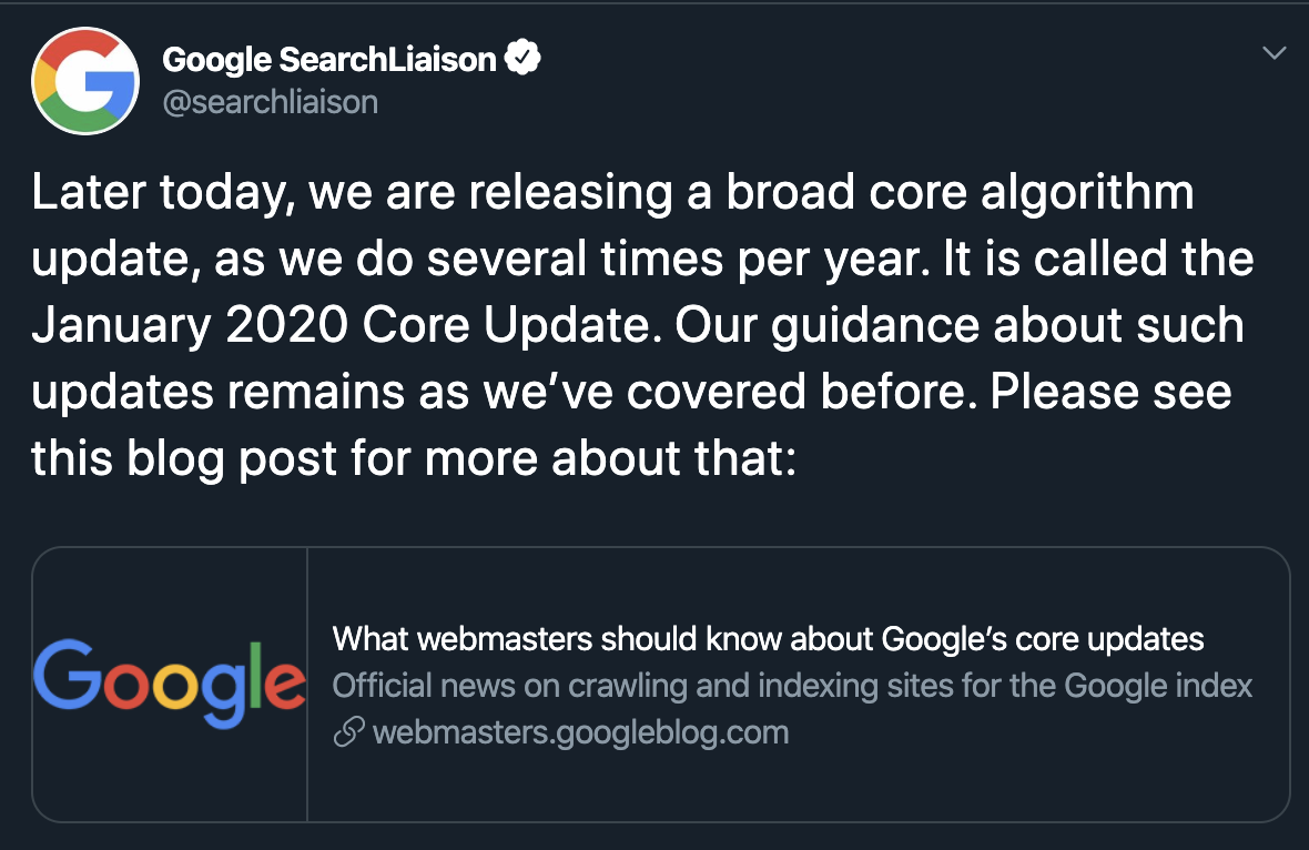 tweet by google about algorithm update